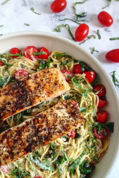 Grilled Salmon and Lemon Garlic Spaghetti