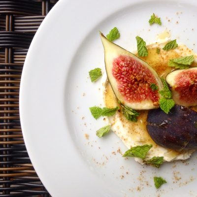 Figs with Sweet & Salty Honeyed Mascarpone