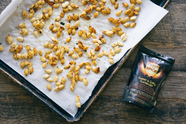 Roasted Pumpkin Seeds with Sweet & Salty Surrender