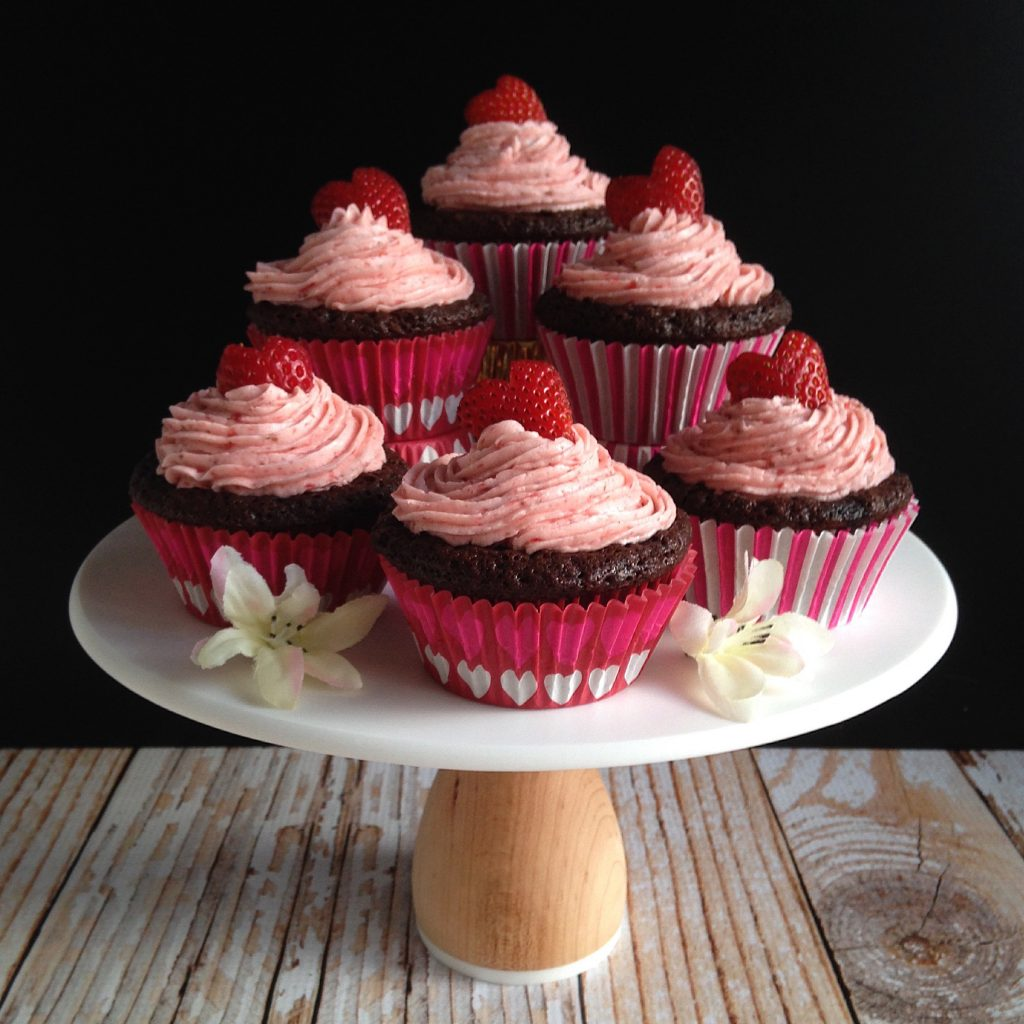 Strawberry and Chocolate Filled Classic Chocolate Cupcakes with Strawberry Frosting