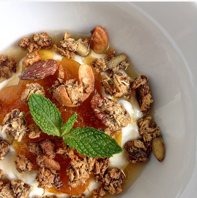 Spiced Coconut Granola wit Apricot Honey, Greek yogurt and mint